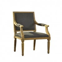 Fannie Armed Dining Chair features a Solid Oak Carved Frame with Gray Woven Upholstery. Classical Styling