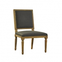 Fannie Armless Dining Chair features a Solid Oak Carved Frame with Gray Woven Upholstery.  Classical Styling.