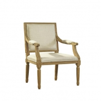 Fannie Armed Dining Chair Features a Solid Oak Carved Frame upholstered with Ivory Woven Fabric.  Classic Styling