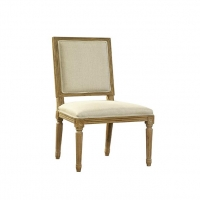 Fannie Armless DIning Chair Features a Solid Oak Carved Frame Upholstered in Cream Woven  Fabric.  Classical Styling.