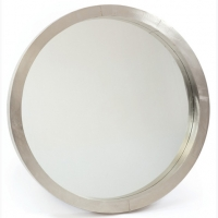 Modern Round Mirror with Metal Wrapped Frame