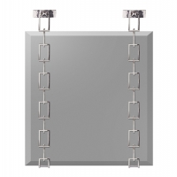 Glam Beveled Mirror Suspended by Modern Box Chains in Chrome Plate