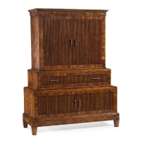 Jachai Chest on Chest is a Harwood cabinet with Okoume Flamed Venner and Satin Wood Banding. The Bifolding Doors all feature fine reeded center panels. The Top Cabinet has 1 removable shelf and the center is a drop down Secretaire drawer.