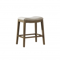 FAHD- Backless Counter Stool.  Solid Oak Frame with Ditressed natural FInish.  Linen tight seat upholstery with Nail head Detail.