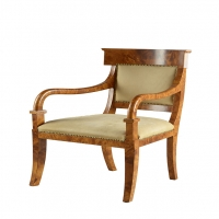 Sage- Empire Style burl wood veneered Arm Chairs covered in Buck Suede.  Chairs sold individually at this price.