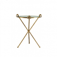 Three Leg Drink Table in Gold Finish with Glass Inset Top