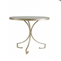 Side Table in Silver Finish with Round Mirror Inset Top