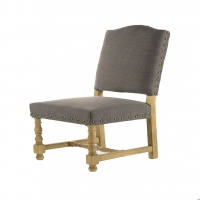 Faris- Dining Chair. Solid Oak Frame Side Chair with Turned Legs. Upholstered in Dark Gray Linen with Nail Trim