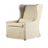 Fallon- Host Chair.  Tall Back Chair Slipcovered in Taupe Linen