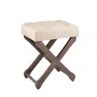 Upholstered Top Wooden Cross Base Stool