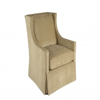 Modified, Swivel, Wing Chair Upholstered in Taupe Chenille with Diamond Patern
