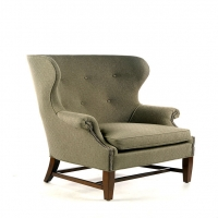Wade Wing Chair.  Classic Barrel Back with Botton Tufts.  Shown and Priced in Turnstile Graphite Fabric