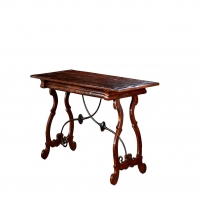 Fanchon Protuguese Styled Desk with Iron Mounts and Hidden Drawers in Apron.
