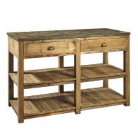 Farid Work Table/ Island is constructed of Reclaimed Hardwoods. The Piece features a solid Soapstone Top with 2 functioning drawers and 2 lower shelves. This is a perfect Kitchen Island or Large Closet center island.