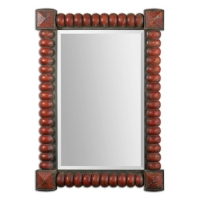 "UBA Mirror with Heavy Primative Frame in Distressed Red Finish. FolkArt Inspired.  Center mirro has a generous 1.25"" bevel."