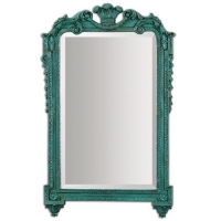 """UDAY Mirror with Ornate French Style Frame in Tuquoise Paint Finish. Center mirro features a generous 1.25"""" bevel."""