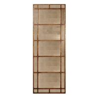 Window Pane Floor Mirror in Burnished Gold FInish with Antiqued Mirror