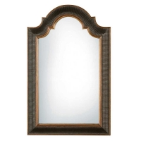 Traditional Arch Top Mirror With Black RIbbed Frame.  Clear Mirror.  Hangs vertical only.