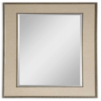 """ULFAH features a frame boardered by distressed silver leaf beading and a Taupe linen mat in the center panel. The Mirror has a generous 1.25"""" bevel."""