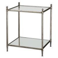 Regency Style Gueridon Table in Silver Leaf Finish. Top is Tempered clear glass. Bottom shelf is reinforced mirror.