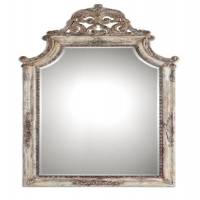 French Style Ornately Carved Frame with Distressed Ivory Finish