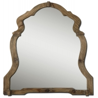 Ornate Shapely Framed Mirror with Light Walnut Finish.  Clear center mirror.