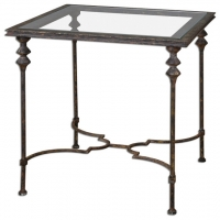 Side table With Forged Iron Base and Inset Glass Top