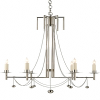 Modern Stem Chandelier with Chain and Ball FInial Details Holds 6 B Lamps- 60 Watt Max Each (Not Included) U.L. Listed