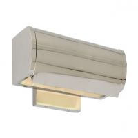 Modern Dome Style Portrait Light Shown in Polished Nickel. Holds 1 T Lamp- 60 Watt Max (Not Included). U.L. Listed