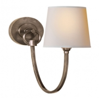 Classic Single Light Loop Sconce with Paper Shade.  Shown in Antique Nickel. Holds 1 B Lamp- 45 Watt Max (Not Included). U.L. Listed