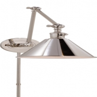 2 Arm Articulating Wall Sconce with Metal Cone Shade.  Shown in Polished Nickel. Holds 1 B Lamp- 60 Watt Max (Not Included). U.L.Listed