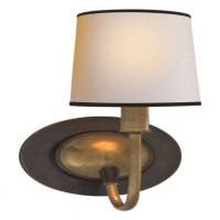 Dual Finish Single Light Wall Sconce with Paper Shade. Holds 1 B Lamp- 45 Watt Max (Not Included). U.L. Listed