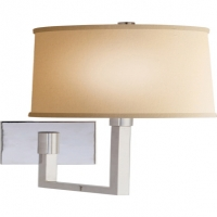 Modern Square Arm Articulating Wall Sconce with Linen Shade.  Shown in Polished Nickel. Holds 1 A Lamp- 75 Watt Max (Not Included). U.L. Listed