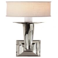 Modern Trumpet Single Wall Sconce with Paper Shade.  Shown in Polished Nickel. Holds 1 B Lamp- 45 Watt Max (Not Included). U.L. Listed