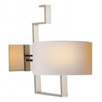 Modern Zig Zag Wall Sconce with Paper Shade.  Shown in Polished Nickel. Holds 1 B Lamp- 60 Watt Max (Not Included). U.L. Listed