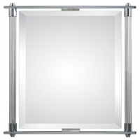 Modern Beveled Mirror with Chrome Plate and Ribbed Glass Frame. Can be hung vertical or horizontal