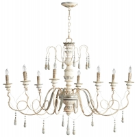 Carved Wood, eight Light Chandelier in White Wash Finish and Silver Accents Holds 8 B Lamps- 45 Watt Max Each (Not Included) U.L. Listed