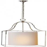 Van Lantern- Box Style with Serpentine Top.  Paper Shade Suspended in Ceneter.  Shown in Polished Nickel Holds 3 a Lmaps- 40 Watt Max Each (Not Included) U.L. Listed