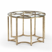 Cadee Side Table has an Antique Gold Metal Base with Glass Top
