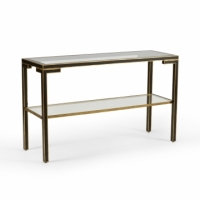 Cadhul Console Table- Black and Gold Wooden Frame with Inset Glass Top