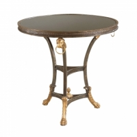 Caesar Side Table- Regency Style Iron Base Table with Black Granite Top