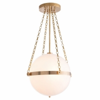 "Afton Ceiling Light- White Glass Orb Suspended by Brass Support Ring and Matching Chain. 3 Bulbs- ""A"" Base, 25W ea"