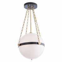"Afton Ceiling Light- White Glass Orb Suspended by Bronze Support Ring and Gold Chain. 3 Bulbs- ""A"" Base, 25W ea"