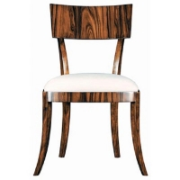 Ea Dining Side Chair is a Sophisticated Rosewood Veneered Chair with a Textured Cotton Slip Seat as Shown.