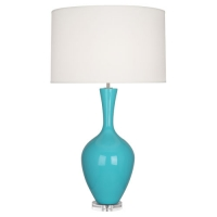 Race Ceramic Table Lamp Shown in Egg Blue with Lucite Base and Barrel Shade Fixture Holds 1 A Lamp, 150w Max (Not Included) U.L. Listed