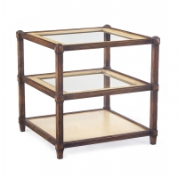 Jacey Side Table has a Substantial Wood Frame, carved and reeded with a medium walnut stain. The Shelves are covered in Linen and feature inset glass.