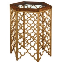 Eadoin is a Sophisticated Retro Modern Side Table Featuring and Gold Gilded Iron Base with Fretted Moorish Detail and a Burl Wood Top with Tempered Glass Insert.