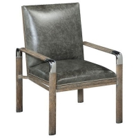 Eamon Accent Chair Features a Sildi White Oak Frame with Gray Wash and Polished Nickel Accents.  The Chair is Upholstered in Graphite Leather with Polished Nickel Nail Head Trim as Shown.
