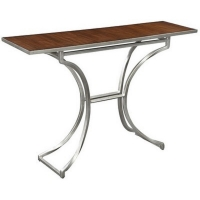 Edolie Console Table Features a Clean Modern Forged Iron Base in Silver with and Inset Stained Wood Top.