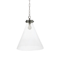 Large Conical Hand-Blown Glass Pendant Light with Antique Nickel Hardware. Fixture Holds 1 A Lamp, 60 Watt Max (Not Included)